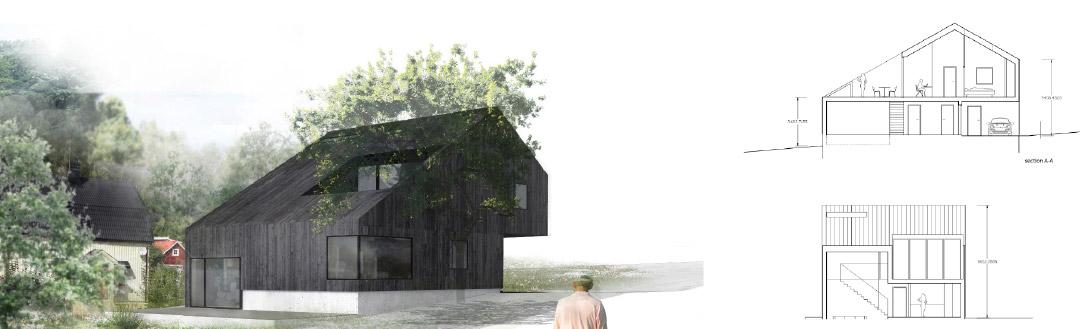 Tecknad bild och planritning på hus. Titel PMB Sverige bygger designat hus på Pengaberget.