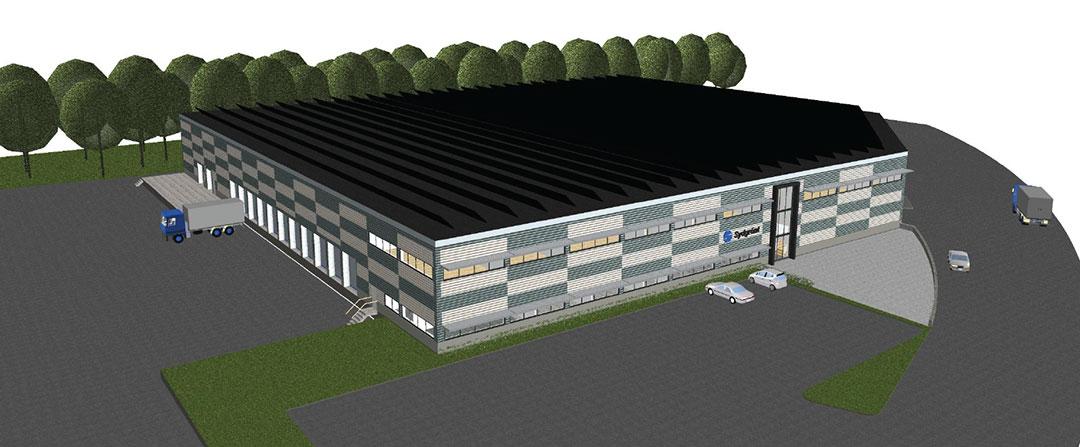 Bild på ritning av lager till Sydgrönt i Helsingborg. PMB Sverige.