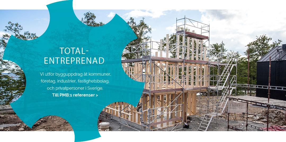 Bild på hus som byggs. Titel PMB Sverige utför totalentreprenad.