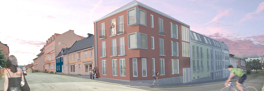 Tecknad bild av kvarteret Helsingborg. Projekt av PMB Sverige.