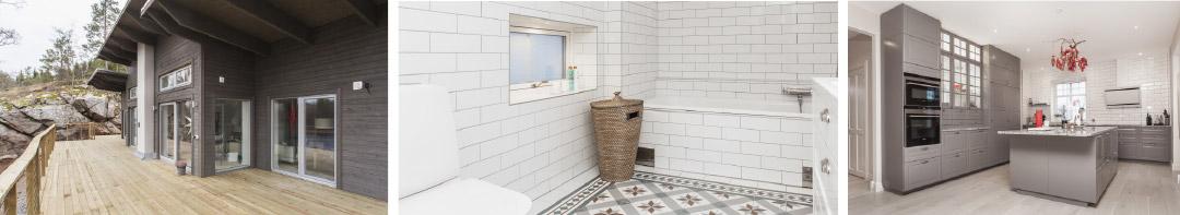 Tre bilder från nytt hus med altan, badrum och kök. Titel PMB Sverige utför allt.
